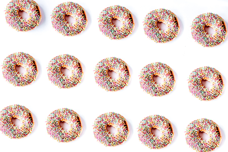 food design with chocolate donat on white table background top v Stock fotó