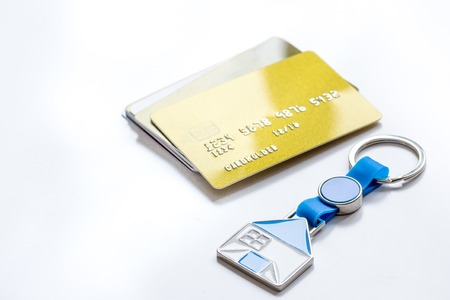 credit cards, key ring - concept mortgage on white background Banque d'images