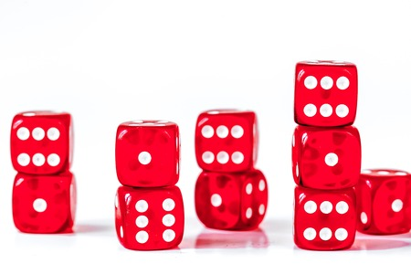 concept luck - dice in row on white background