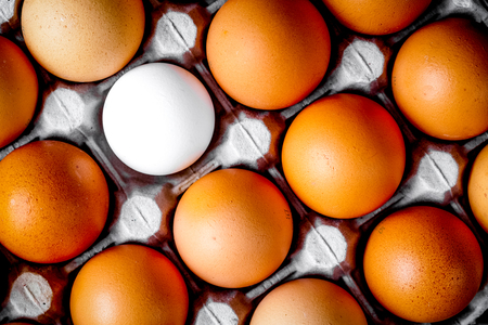 concept of correct choice eggs on wooden background top view