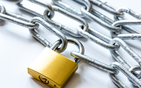 concept data protection with metal chain on white background close up Foto de archivo