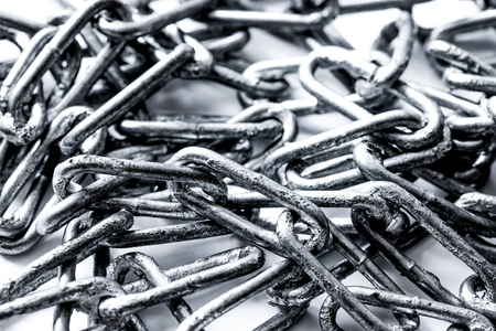 concept data protection with metal chain on white background close up Stockfoto