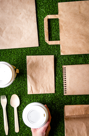 take out in paper bag on green background top view.