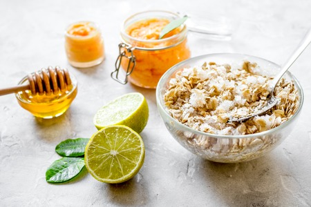 organic citrus scrub homemade on gray background