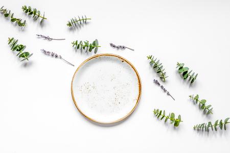 trendy breakfast design with lavander and eucalyptus top view mo Imagens