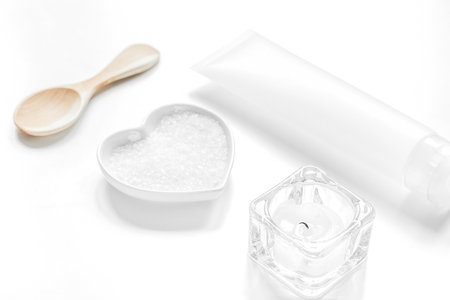 cosmetic set in body care consept on white table background