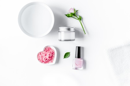 salt and cream for nail care in spa top view Stok Fotoğraf