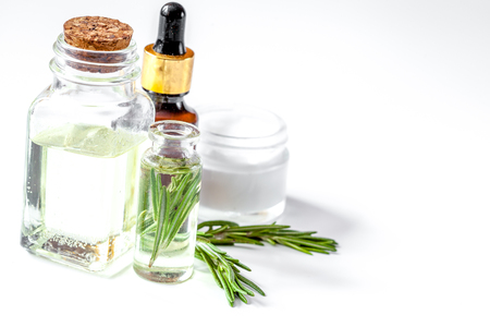 organic cosmetics with extracts of herbs rosemary on white background Stock fotó