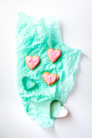cookies for Valentine Day heartshaped on white background top view Stock Photo