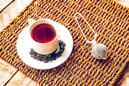 Morning tea on wooden table