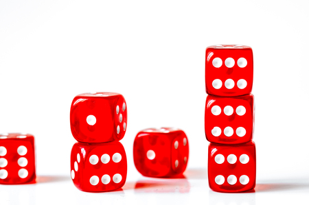 concept luck - dice in row on white background Reklamní fotografie