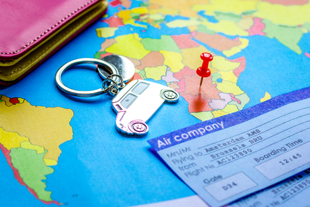 booking travel concept with tickets on map background
