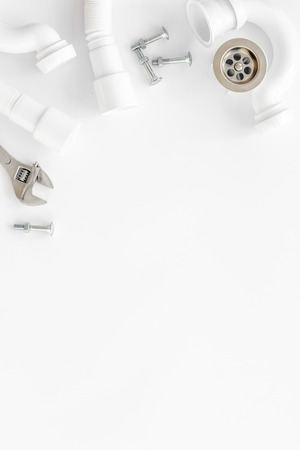 Plumber work with instruments, tools and gear on white background top view mockup