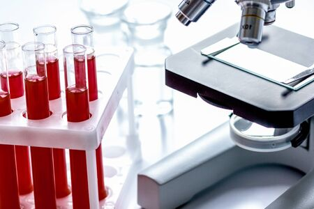 Medical equipment blood test in laboratory no one on white Banco de Imagens - 124952121