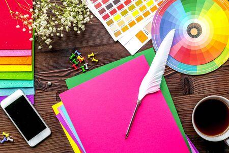 Graphic designer office in profession concept on light wooden work desk