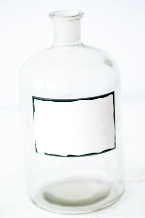 Antique medical glass bottles retro stylish design - with empty place for text Stock Photo