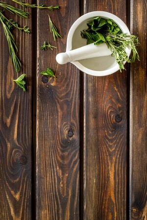 Alternative medicine. Store up medicinal herbs on wooden background top view space for text Stock fotó
