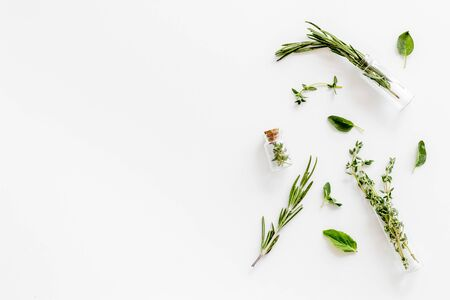 Alternative medicine. Healing herbs for medicine on white background top view mockup