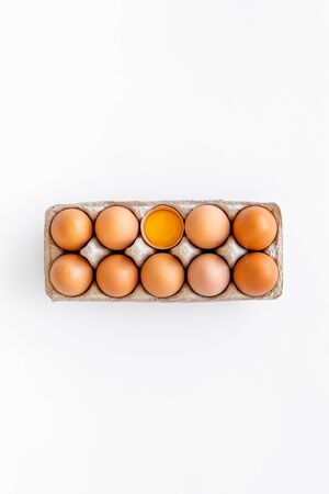 Blog pattern with eggs on white background top view 版權商用圖片