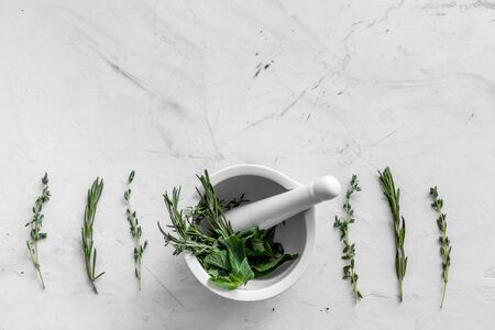 Store up medicinal herbs on white marble background top view space for text Stock Photo