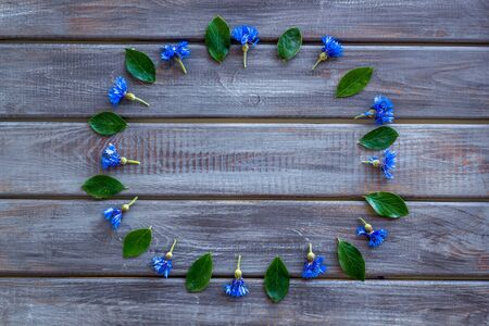 Blue cornflowers frame for floral design on wooden background top view mockup