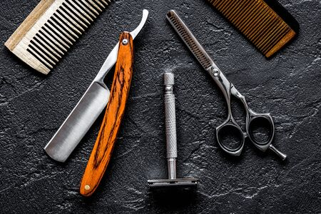 Tools for cutting beard barbershop top view Imagens