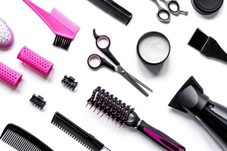 combs and hairdresser tools on white background top view Imagens
