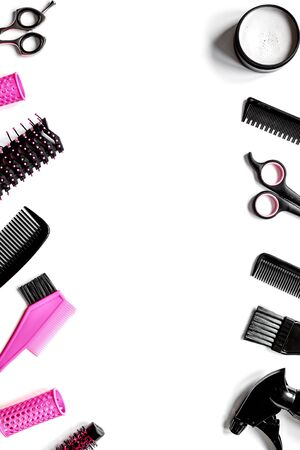 Tools for hair styling on white background top view