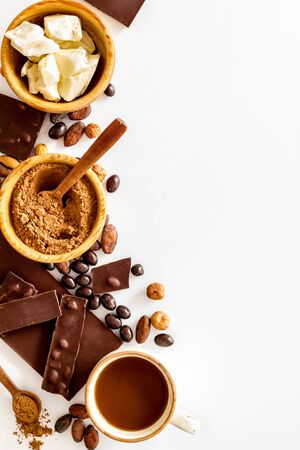 Different variety of chocolate and hazelnut on white background top view space for text Imagens