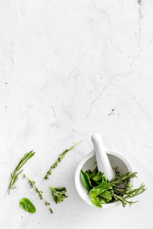 Store up medicinal herbs on white marble background top view space for text Imagens
