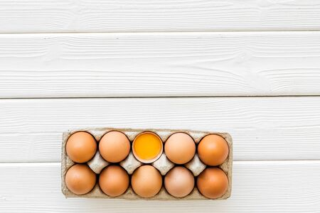 Blog pattern with eggs on white wooden background top view copyspace Imagens
