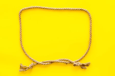 isolated rope mockup on yellow background top view .