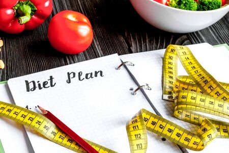 Concept diet, slimming plan with vegetables mock up 写真素材