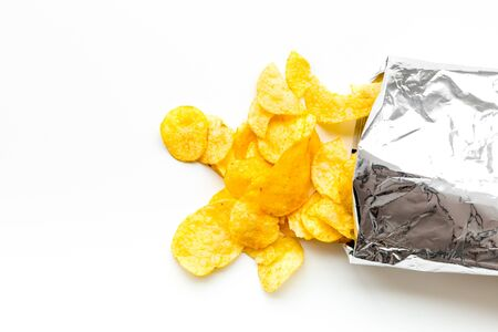 Potato chips bag ready to eat on white background top view mock up