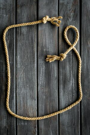 isolated rope mockup on wooden background top view