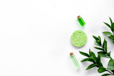 skin care with natural cosmetics with herbal extract on white background top view mockup