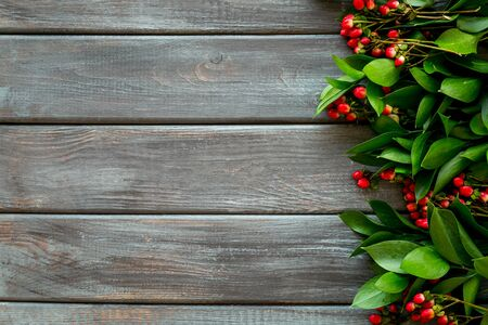 green herbs and red berries for summer design on wooden background top view mock up Stock fotó
