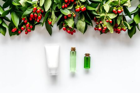 skin care with natural cosmetics with herbal extract on white background top view Archivio Fotografico - 129424027