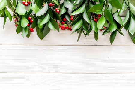 green herbs and red berries for summer design on white wooden background top view mock up