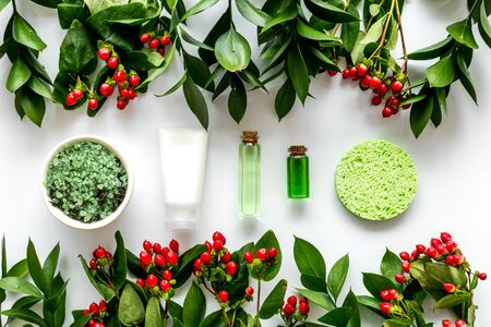 Cosmetics for face with salt, lotion, cream from herbs on white background top view Archivio Fotografico - 129423765