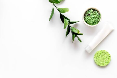 Natural organic cosmetic set with green herbs on white background top view mock up Archivio Fotografico - 129423675