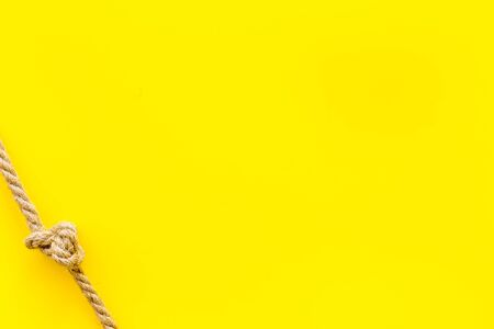 isolated rope mockup on yellow background top view 写真素材