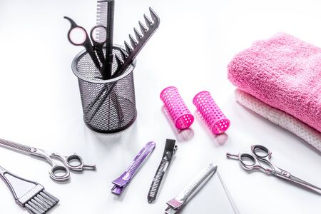 hairdresser working desk with tools