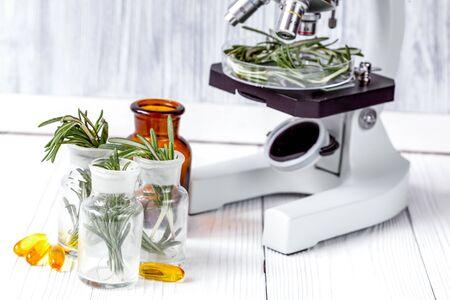 test herbs samples on microscope in laboratory close up 版權商用圖片