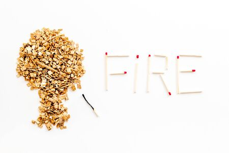 Symbol of fire in woods with tree from kindling and word fire from matches on white background top view