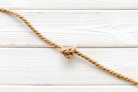 isolated rope mockup on white wooden background top view Reklamní fotografie