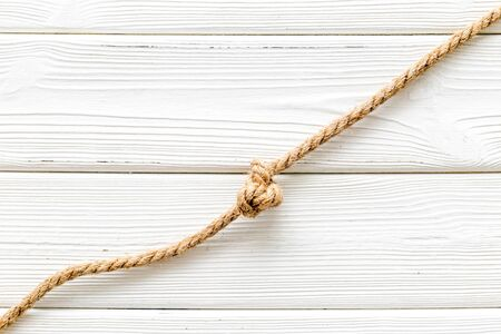 isolated rope mockup on white wooden background top view .