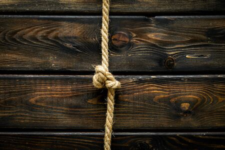 isolated rope mockup on wooden background top view .