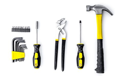 Tools for repairing top view on white background.