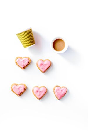 cookies for Valentines Day heartshaped on white background top view pattern